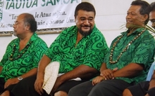 Tautua Samoa party candidate, Tu'ula Kiliri (middle) with other party candidates.
