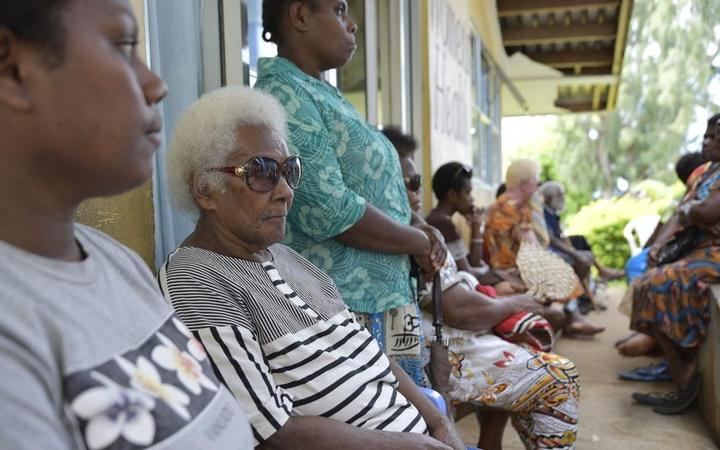 People wait for eye care in Vanuatu