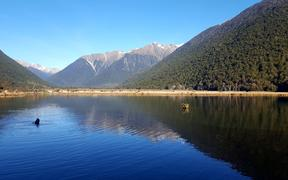 The northern tip of the southern alps near St Arnaud in the Nelson Lakes National Park in late June.