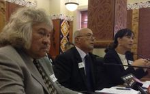 Left to right: Maori Broadcast Funding Agency CEO John Bishara, chairman Professor Piri Sciascia and board member Professor Rawinia Higgins - speaking to the Maori Affairs Select Committee on Wednesday 17 February 2016.
