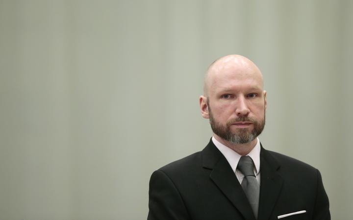 Anders Behring Breivik is pictured on the last day of the appeal case in Borgarting Court of Appeal at Telemark prison in Skien, Norway in 2017.