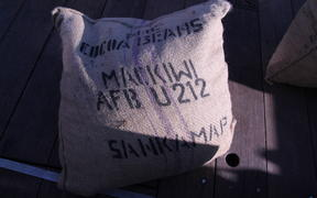 A sack of cocoa beans that was sailed to New Zealand from Bougainville by the Wellington Chocolate Factory.