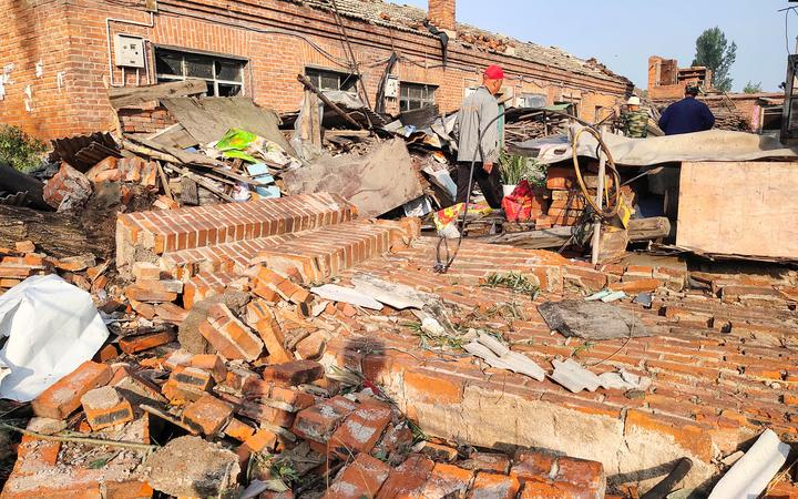 Some of the buildings damaged by a tornado in Kaiyuan, in China's northeastern Liaoning province.