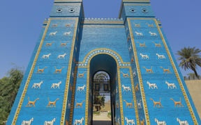 A general view of a replica of Ishtar Gate at the site of Babylon, a kingdom in ancient Mesopotamia, now located in modern day city of Hillah. The site of Babylon has been selected to be inscribed as a UNESCO World Heritage Site.