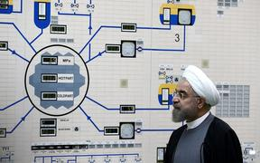 Iranian President Hassan Rouhani at the control room of the Bushehr nuclear power plant.
