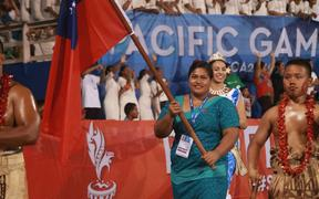 Weightlifter Feagaiga Stowers was the flag-bearer for hosts Samoa.