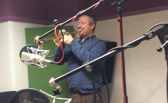 Mark Carter and trumpet in studio