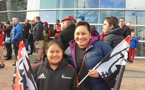 Elisetele Makalio (left) and her older sister Puaga, travelled down from Auckland to watch their brother, Richard Makalio, play for the Crusaders on Saturday.