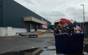 An overflowing skip bin at Bunnings in Lyall Bay.