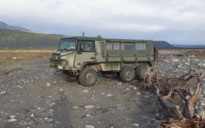 A Pinzgauer Light Operational all-terrain vehicle is helping transport DOC staff and volunteers at Fox River