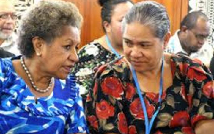 Former PIANGO chief executive Emele Duituturaga, of Fiji, left, and her successor Emeline Siale Ilolahia, of Tonga.