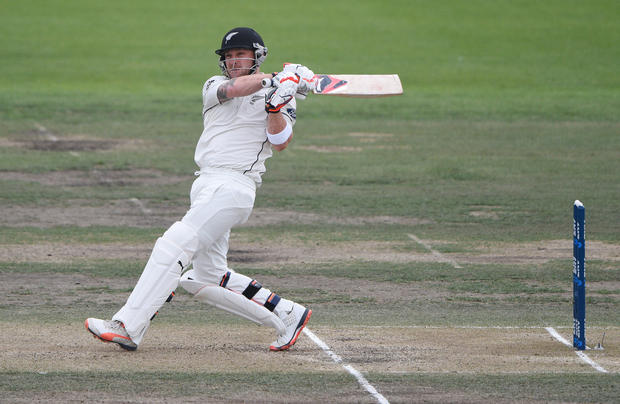 Brendon McCullum batting during his last innings before retirement on Day 3 of the 2nd test match. New Zealand Black Caps v Australia. Hagley Oval in Christchurch, New Zealand. Monday 22 February 2016.
