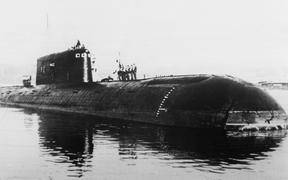 "Undated picture taken in St. Petersburg showing the nuclear-powered submarine ""Komsomolets"" which sank in the Norvegian Sea 07 April 1989."
