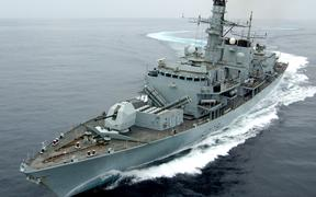 "An October 2005 handout photo released in London on July 11, 2019, shows the British Royal Navy's HMS Montrose, a Type 23 Frigate, performing turns during excercise ""Marstrike 05"", off the coast of Oman."