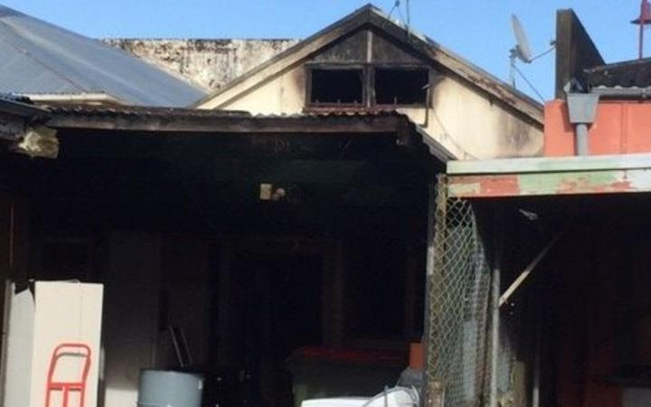 The aftermath of the fire at the Pizza Box in Paeroa.