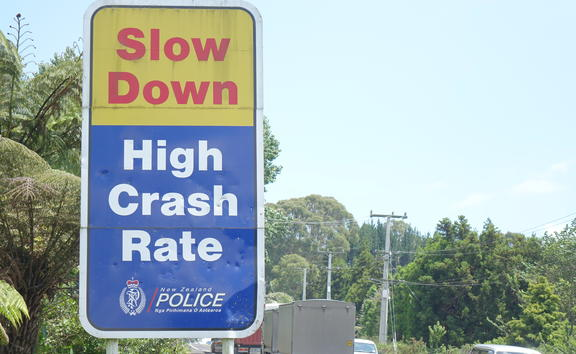 A sign on SH2 warning motorists to slow down.