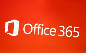 The logo of Microsoft Office 365 is seen on a screen. (Photo by Alexander Pohl/NurPhoto)
