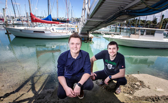 Chris Walker and Patrin Illinberger are developing a new way to keep boat hulls free from biofouling,