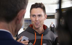 Trent Boult at Auckland Airport returning from the Cricket World Cup.