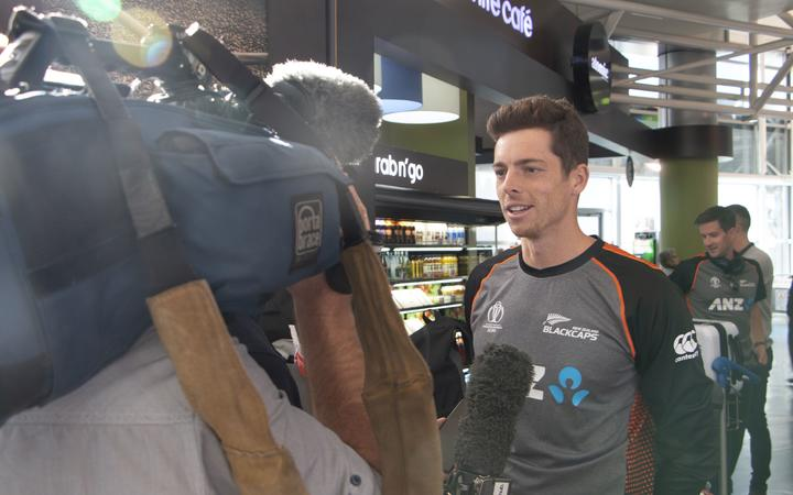 Mitchell Santner at Auckland Airport.