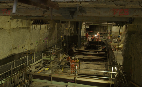 Video footage shows construction progess on Auckland's City Rail Link.