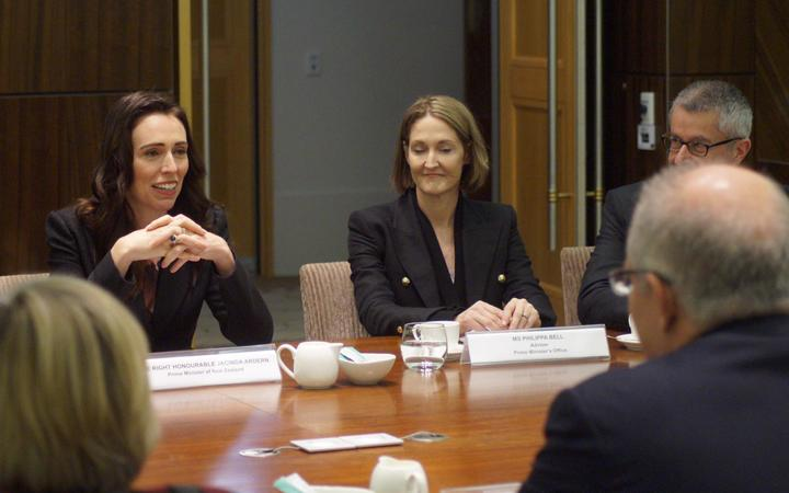 Prime Minister Jacinda Ardern in talks with Australian Prime Minister Scott Morrison.