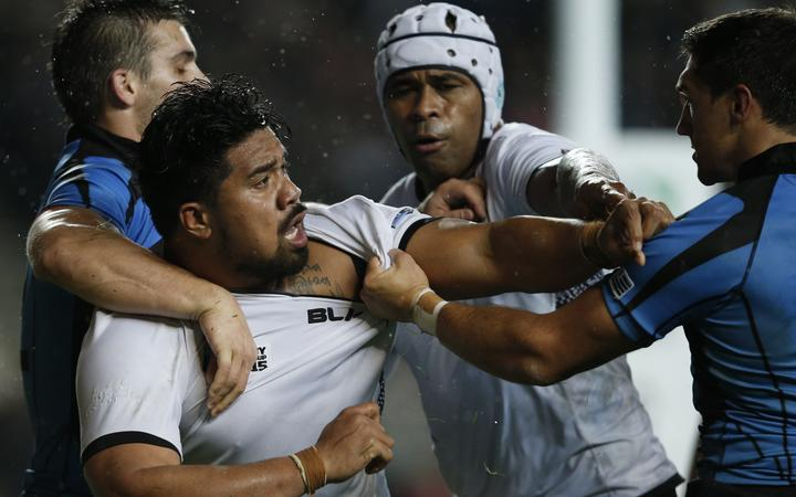 Fiji prop Campese Ma'afu (L) gets another chance to square off against Uruguay this weekend.
