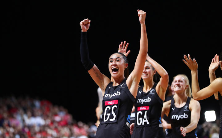 Maria Folau and teammates react after winning the Netball World Cup with a 52-51 victory over Australia in the final.