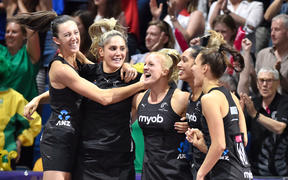 The Silver Ferns celebrates winning the Netball World Cup