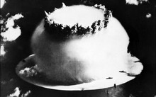 A file photo from July 2014 shows an atomic bomb explosion in Bikini Atoll.