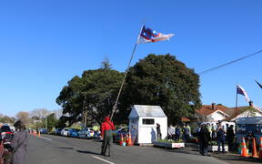 Protesters at Ihumātao where an eviction notice has been served against occupiers.