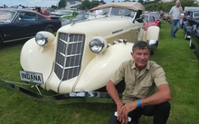 Mike Brouwers and his replica 1930s Auburn Cord Duesenberg, which was used in the film 'Indiana Jones and the Temple of Doom'.