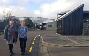 Upper Hutt city councillor Angela McLeod (left) and local Tracey Ultra out the front of International Springs Ltd.