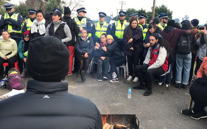 The scene at the entrance to the Ihumātao site.