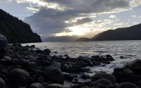 View from the shore of Coal Island, looking up Preservation Inlet in Fiordland's remote southwest.