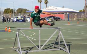 Hawke's Bay magpie Folou Fakatava soars over the police fitness test