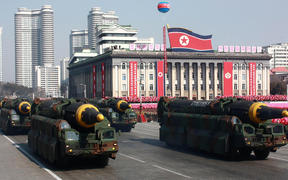 This photo taken on 8 February 2018  by North Korea's official Korean Central News Agency (KCNA) shows Hwasong-12 ballistic missiles during the military parade to mark the 70th anniversary of the Korean People's Army at Kim Il Sung Square in Pyongyang.