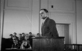 This file photo taken on March 3, 1948 shows Witold Pilecki testifying in court in Warsaw.