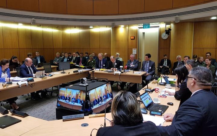 Leaders of Wellington's regional and city councils at a Parliamentary select committee.
