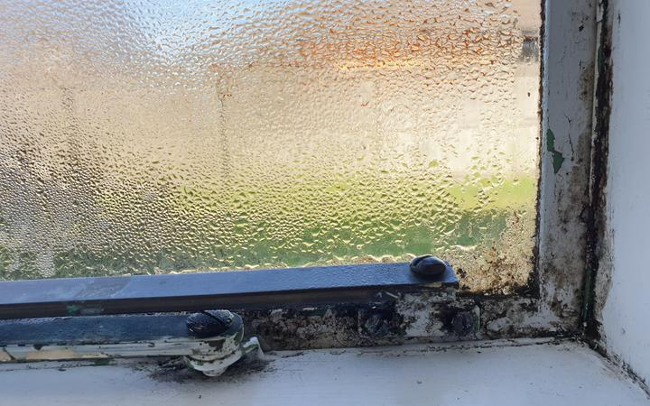 Frank Poissonnier's home at a social housing complex in Christchurch has mould on the window edges.
