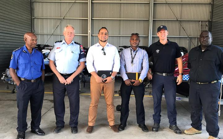 Pacific security analyst Jose Sousa-Santos, third from left, with Papua New Guinea, Australian and New Zealand police advisors on trafficking and border security.