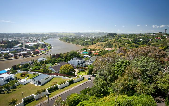 Overlooking the Whanganui River and City New Zealand. Photo taken from Durie Hill