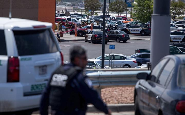 Law enforcement agencies respond to an active shooter at a Wal-Mart near Cielo Vista Mall in El Paso, Texas.