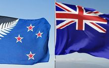 The proposed new flag design sits alongside the current flag.