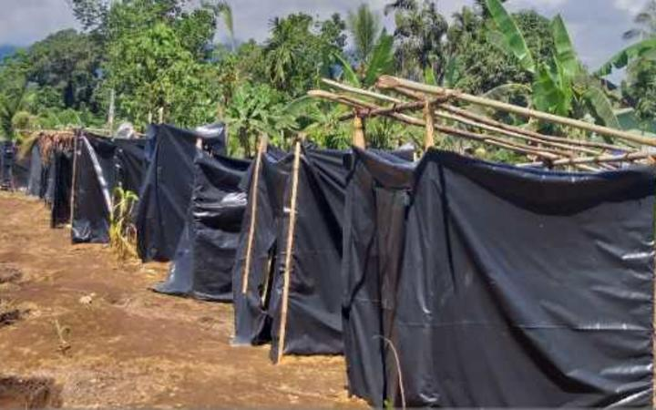 Temporary toilets at a care centre in Kabaya for people displaced by the Mt Ulawun volcano.
