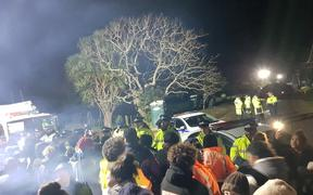 Police presence ramps up at Ihumatao on the evening of 5 August 2019.