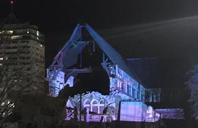 Blue and pink lighting on Christ Church Cathedral.