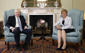 Prime Minister Boris Johnson and Scotland's First Minister Nicola Sturgeon at Bute House in Edinburgh during his visit to Scotland, July 29.