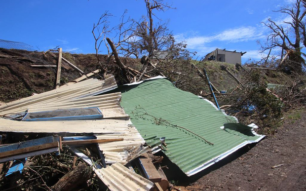 A handout photo taken on 23 February, 2016 and obtained on 24 February, shows damage to a school dormitory on Koro Island as aid arrives and the clean-up starts after the most powerful cyclone in Fiji's history battered the Pacific island nation.