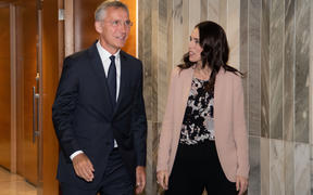 New Zealand Prime Minister Jacinda Ardern (R) meets with NATO Secretary General Jens Stoltenberg at Parliament in Wellington.